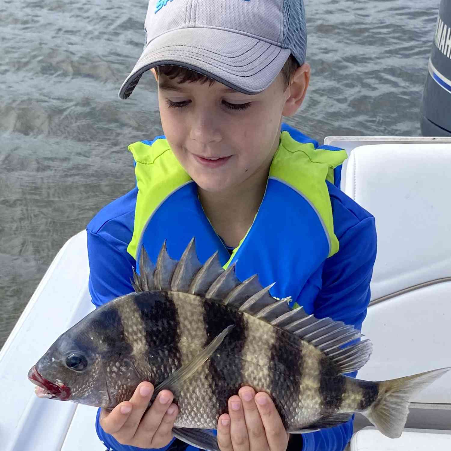 Title: Sheephead Sunday - On board their Sportsman Tournament 214 Bay Boat - Location: Shell Beach LA. Participating in the Photo Contest #SportsmanApril2020