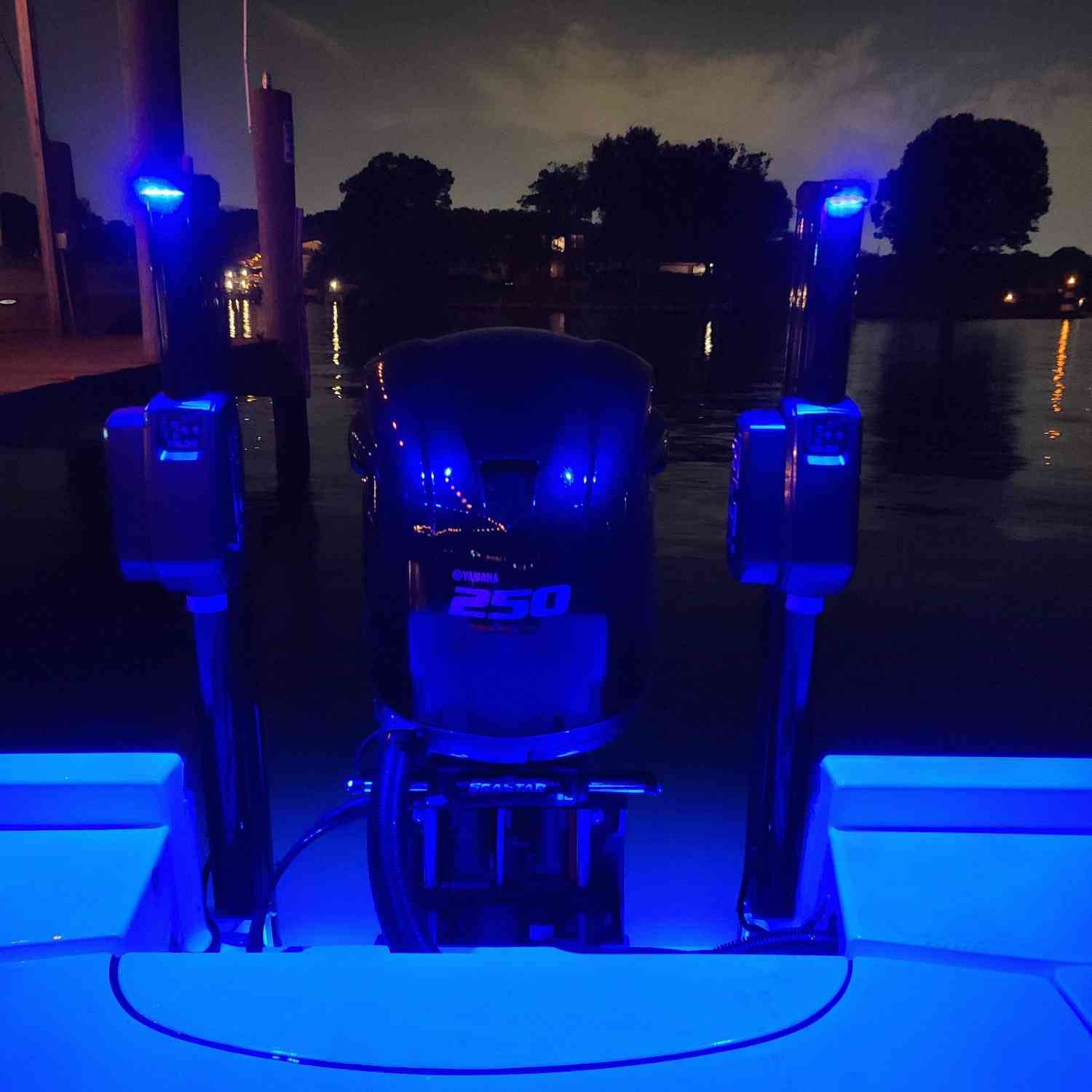Title: All lit up at the dock bar - On board their Sportsman Masters 227 Bay Boat - Location: middle river md. Participating in the Photo Contest #SportsmanAugust2020