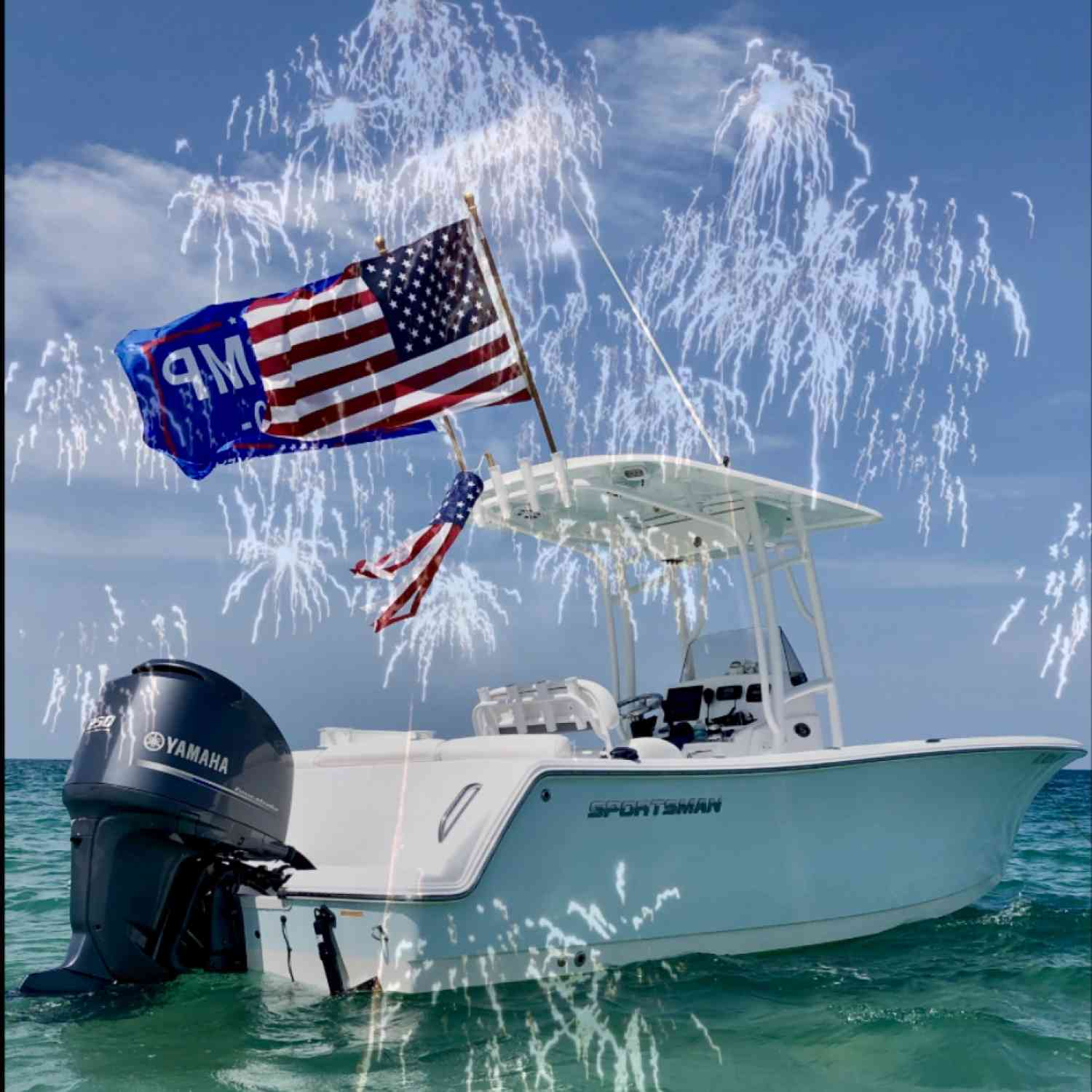 Title: Make America Great, Again! - On board their Sportsman Heritage 231 Center Console - Location: The Cove ~ Ft. Pierce Florida Inlet. Participating in the Photo Contest #SportsmanAugust2020
