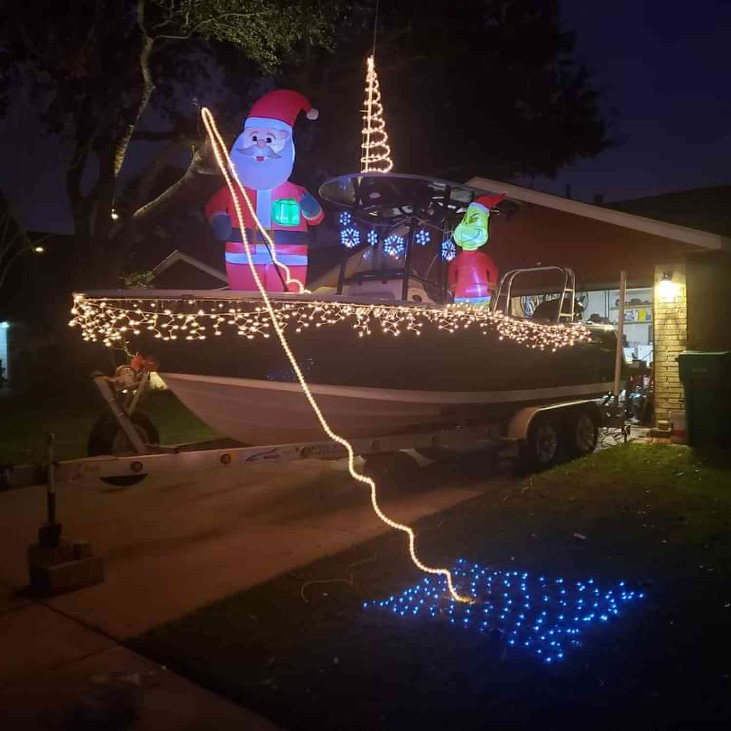 This is my boat during Christmas time. Santa is trying to catch a fish