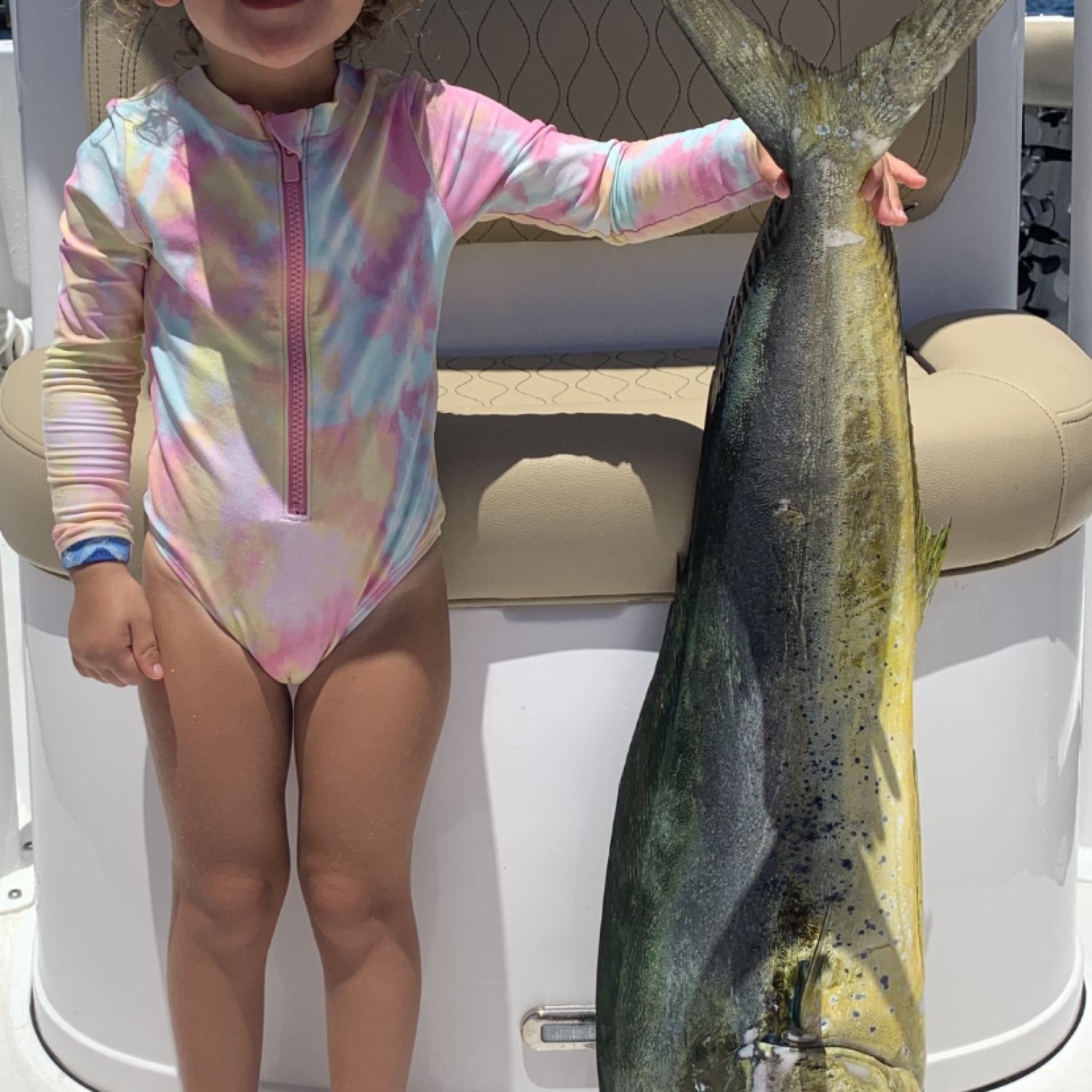 We spent the day fishing offshore and landed a few nice mahi mahi my daughter was amazed they w...