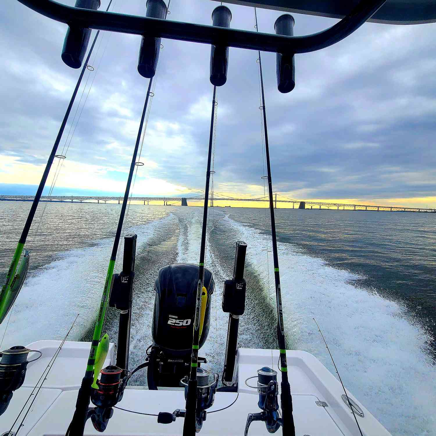 Title: Heading back from the Chesapeake Bay Bridge - On board their Sportsman Masters 227 Bay Boat - Location: Chesapeake Bay. Participating in the Photo Contest #SportsmanDecember2020