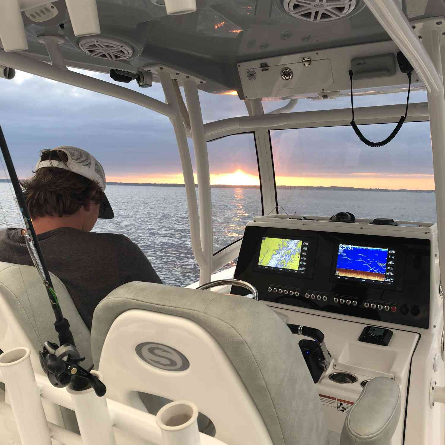 Title: 🌅 - On board their Sportsman Open 282 Center Console - Location: Chesapeake Bay. Participating in the Photo Contest #SportsmanJuly2020