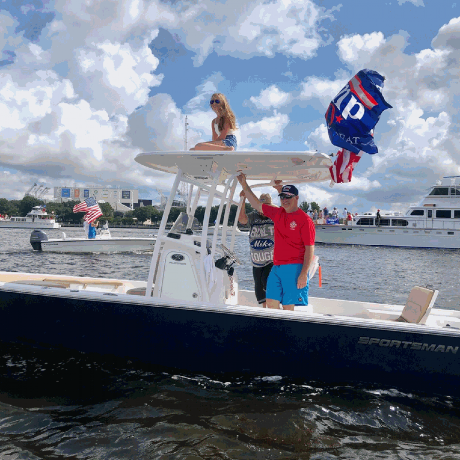 Title: Trump Parade thru Jacksonville - On board their Sportsman Masters 247 Bay Boat - Location: Jacksonville Florida. Participating in the Photo Contest #SportsmanJune2020