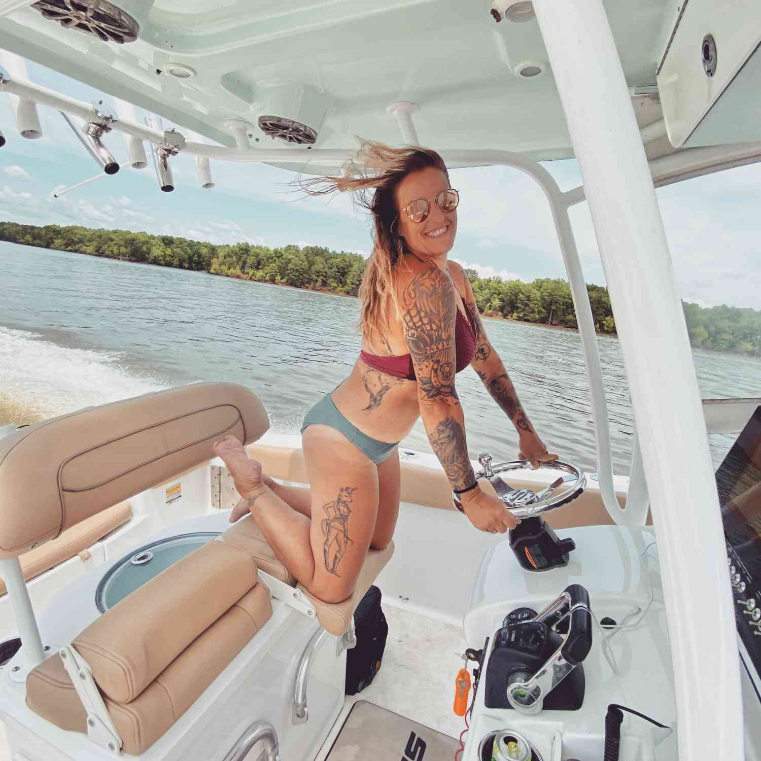 Title: Shortie in the Sportsman - On board their Sportsman Open 252 Center Console - Location: Lake Wateree, SC. Participating in the Photo Contest #SportsmanJune2020