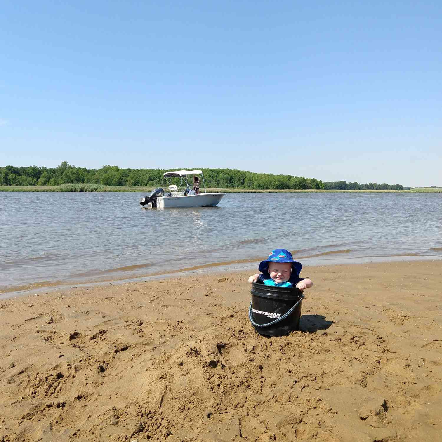 Title: 1st Birthday on the Chester River, MD - On board their Sportsman Island Reef 17 Center Console - Location: Chester River, MD. Participating in the Photo Contest #SportsmanJune2020