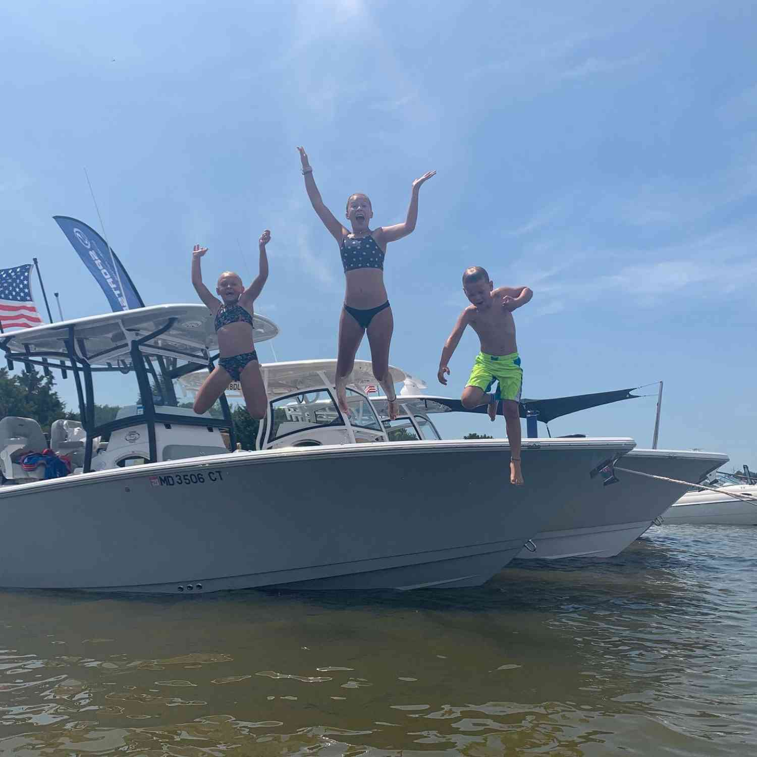 Title: Family Fun - On board their Sportsman Open 282 Center Console - Location: Seneca Creek, MD. Participating in the Photo Contest #SportsmanJune2020