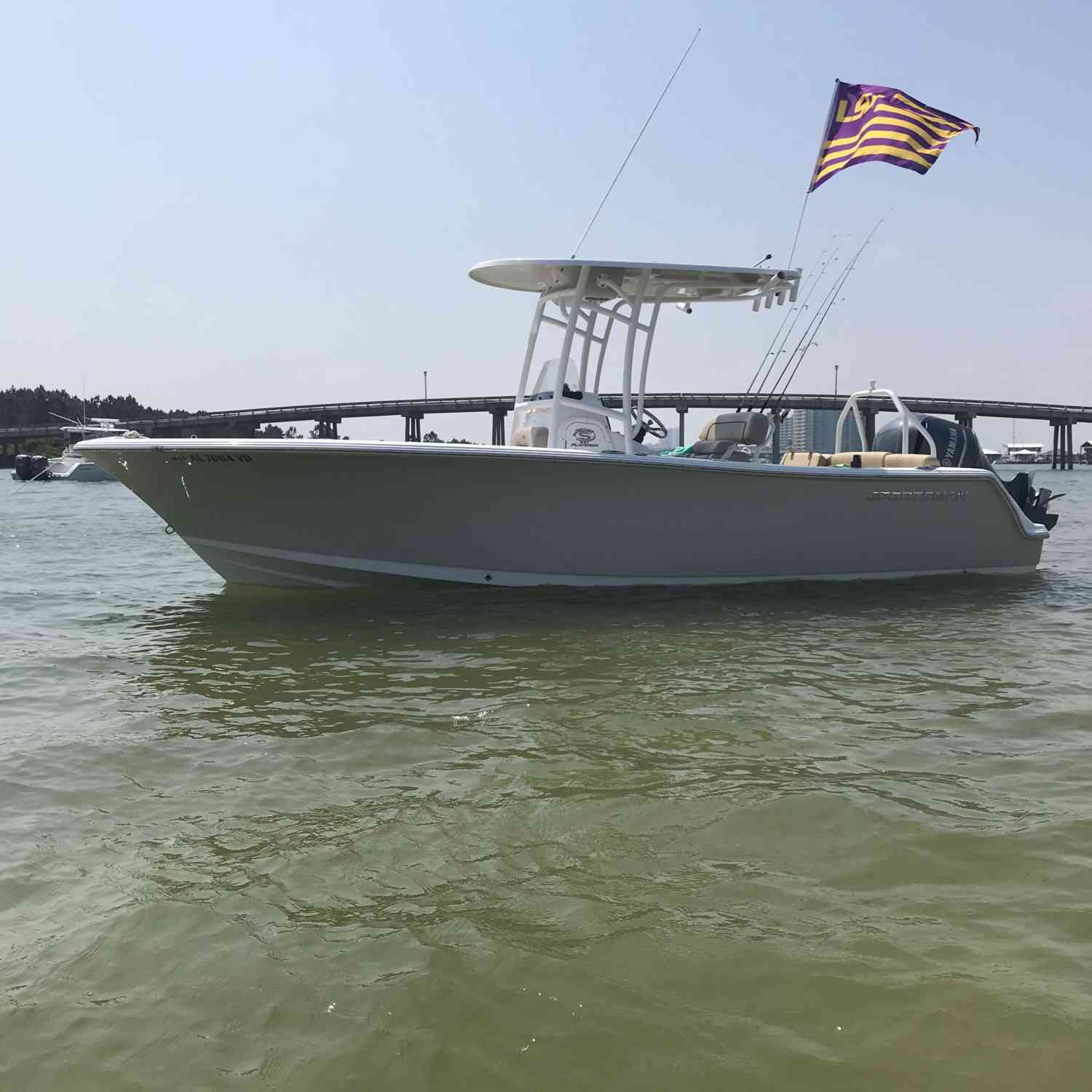 Title: Anchored on the Line - On board their Sportsman Heritage 231 Center Console - Location: Orange Beach, AL. Participating in the Photo Contest #SportsmanMay2020