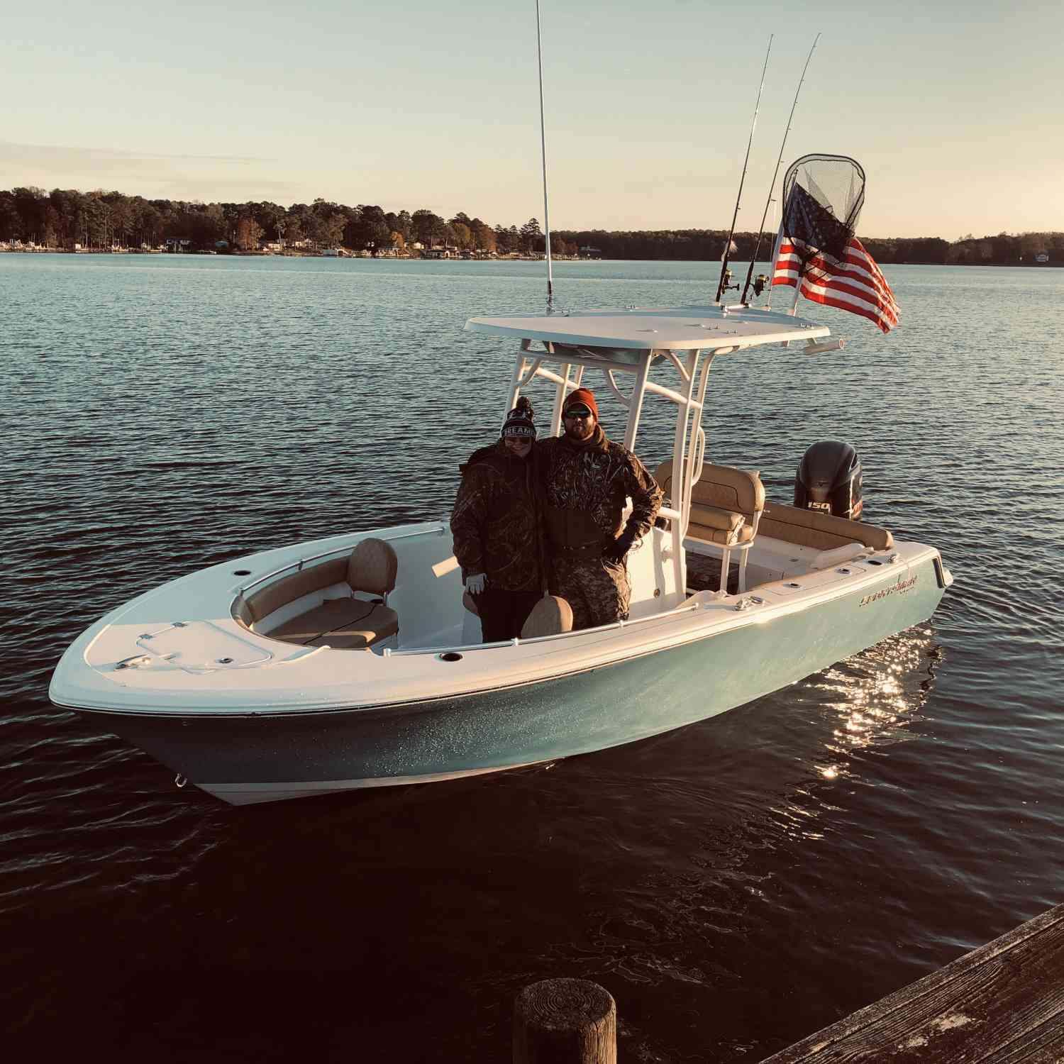 Title: First Day in the boat - On board their Sportsman Heritage 211 Center Console - Location: Virginia. Participating in the Photo Contest #SportsmanMay2020