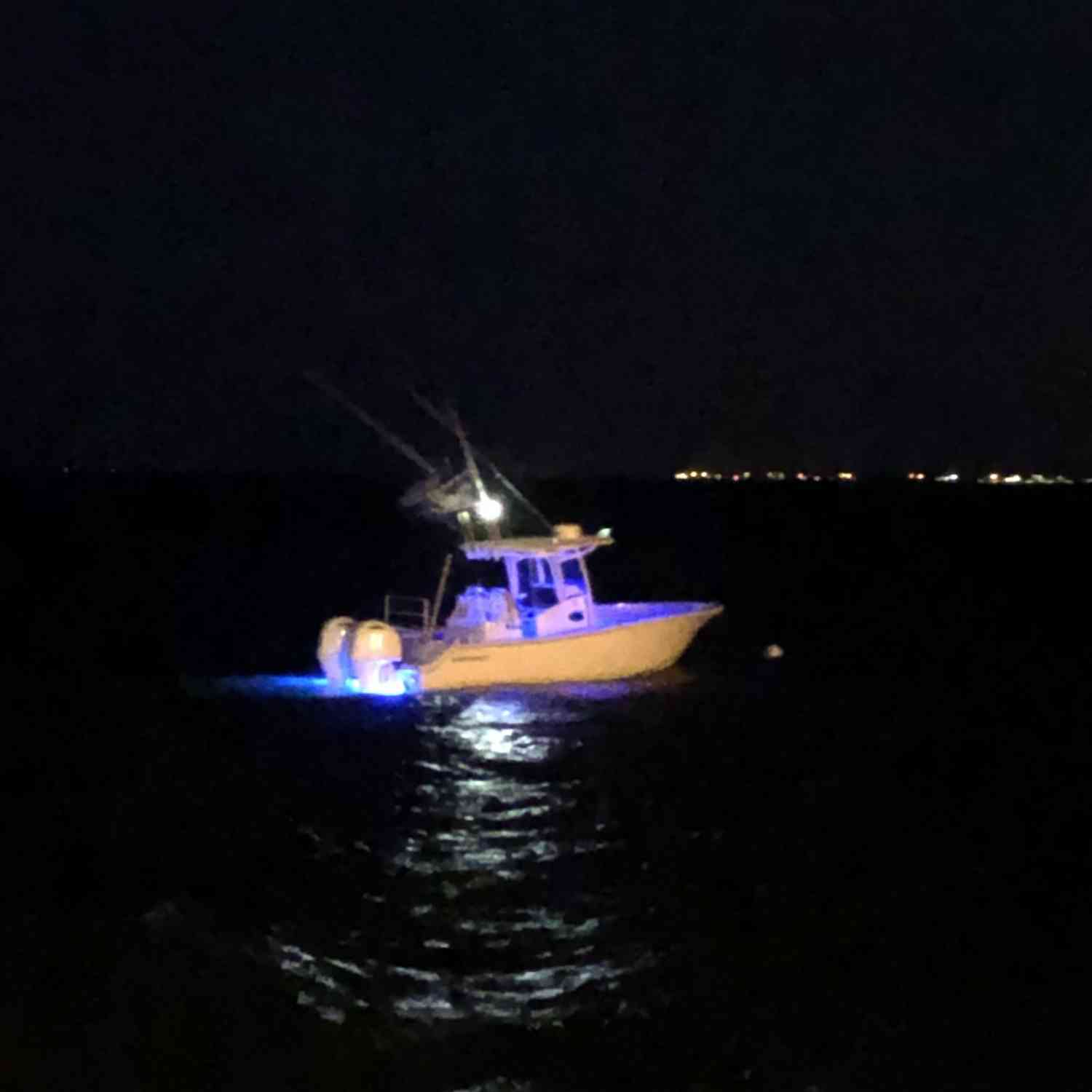 Title: Glowing In The Night - On board their Sportsman Open 282TE Center Console - Location: Bayville NJ. Participating in the Photo Contest #SportsmanOctober2020