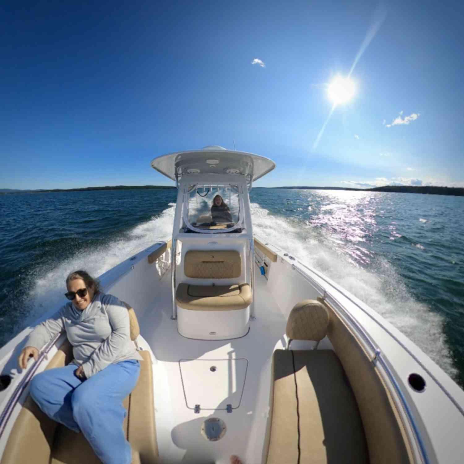 Title: Running with the sun - On board their Sportsman Heritage 241 Center Console - Location: Mount Desert Island, Maine. Participating in the Photo Contest #SportsmanSeptember2020