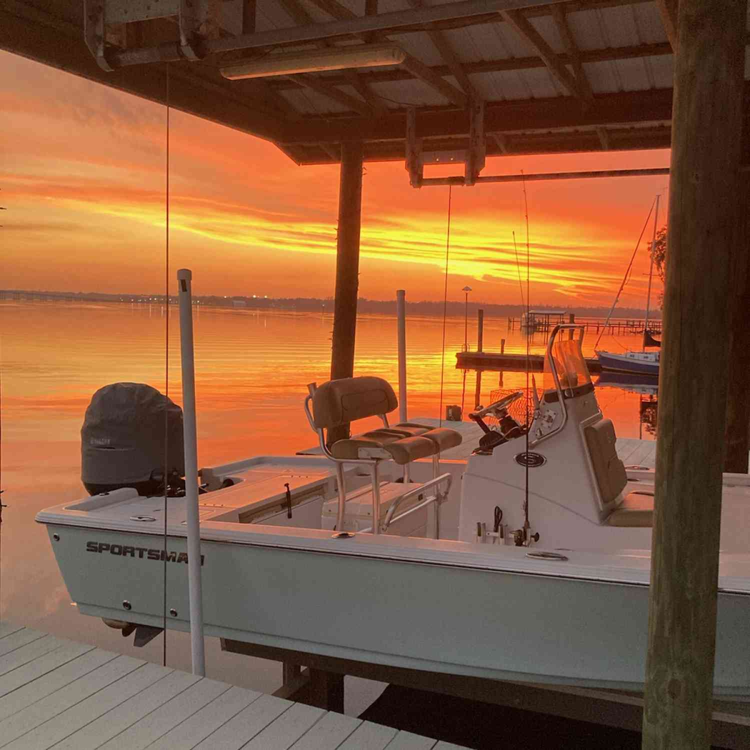 Title: Sportsman sunsets - On board their Sportsman Open 232 Center Console - Location: Near Jacksonville Florida. Participating in the Photo Contest #SportsmanFebruary2021