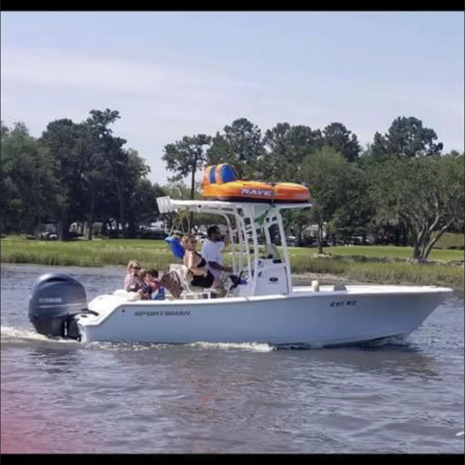 Title: Family day - On board their Sportsman Heritage 211 Center Console - Location: Charleston SC. Participating in the Photo Contest #SportsmanFebruary2021