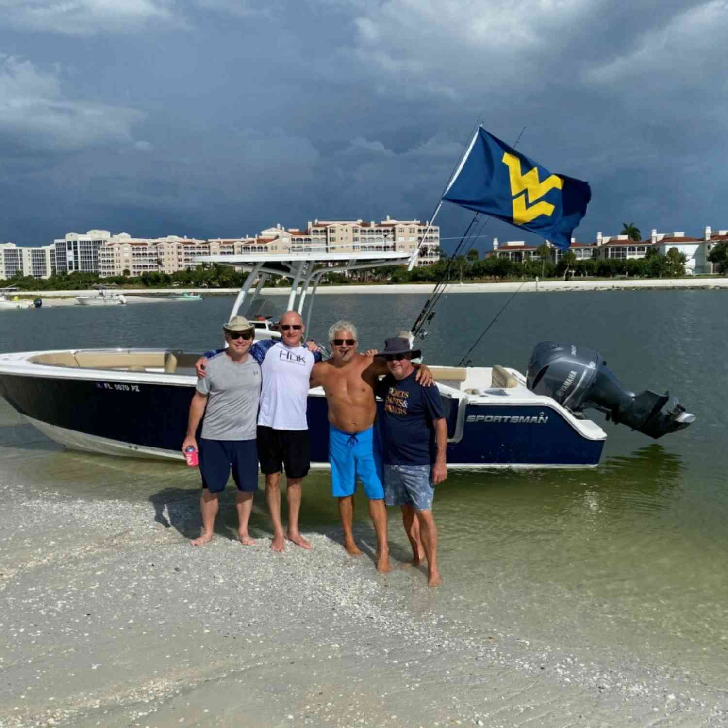Title: Flying our WV colors - On board their Sportsman Heritage 251 Center Console - Location: Marco Island. Participating in the Photo Contest #SportsmanFebruary2021