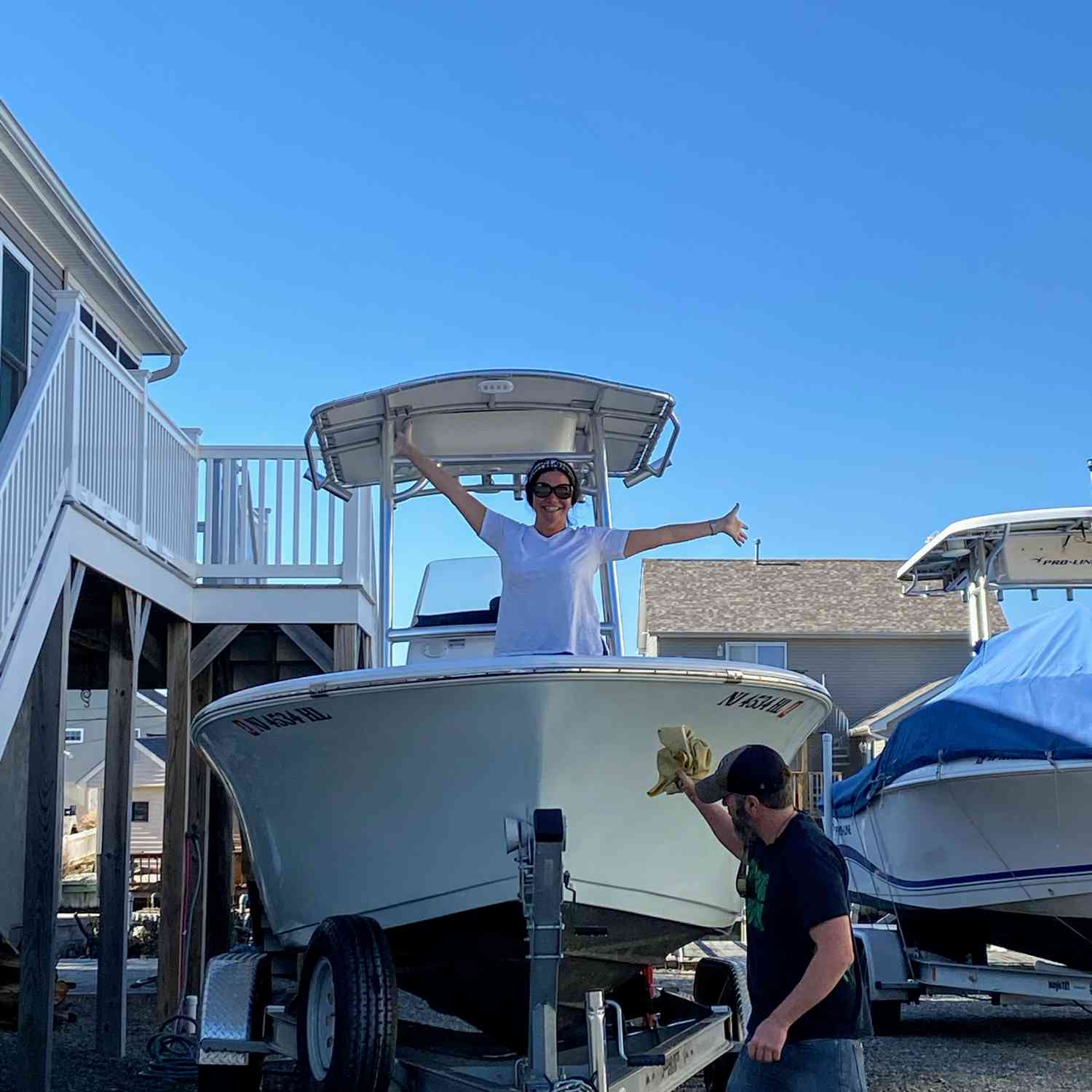 Title: Boat fun - On board their Sportsman Heritage 211 Center Console - Location: Mystic Island New Jersey. Participating in the Photo Contest #SportsmanFebruary2021