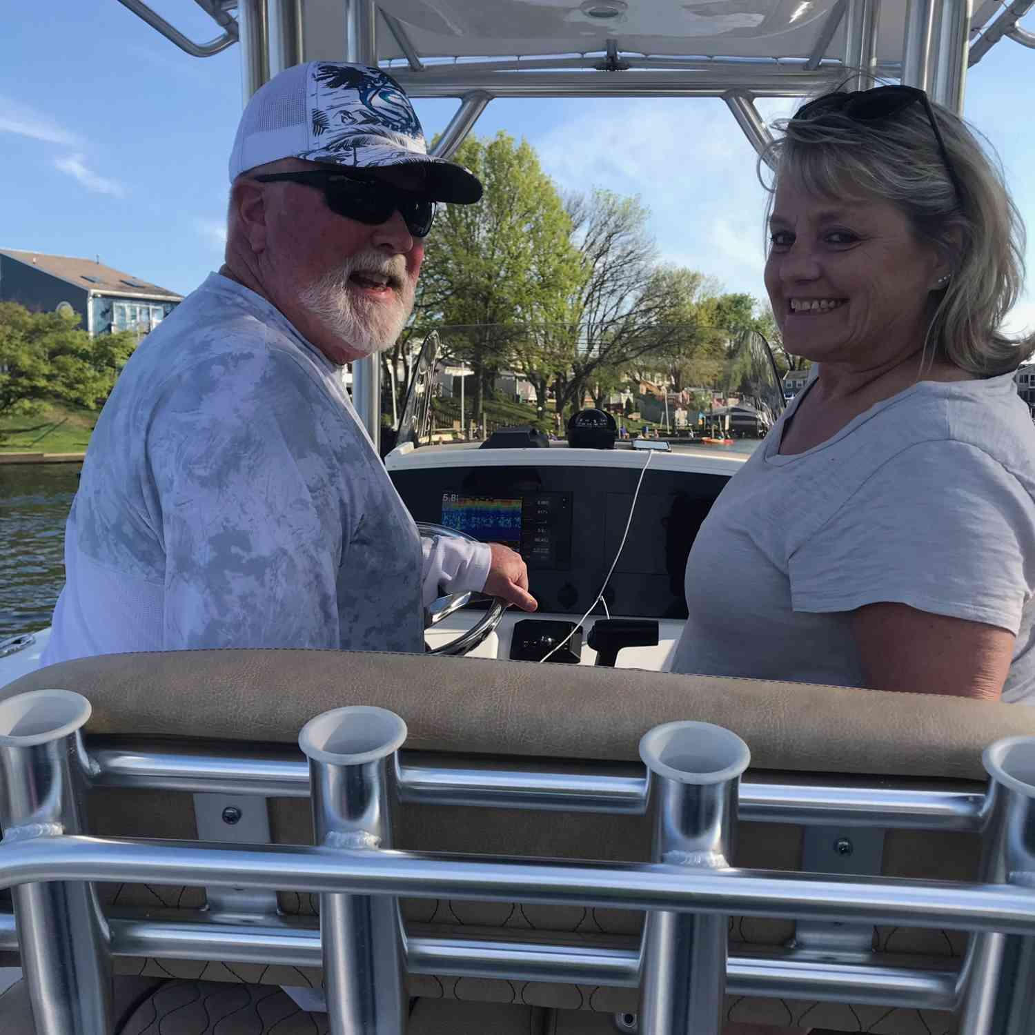 Title: happy wife- happy life - On board their Sportsman Open 232 Center Console - Location: Joppatowne Md.. Participating in the Photo Contest #SportsmanJanuary2021