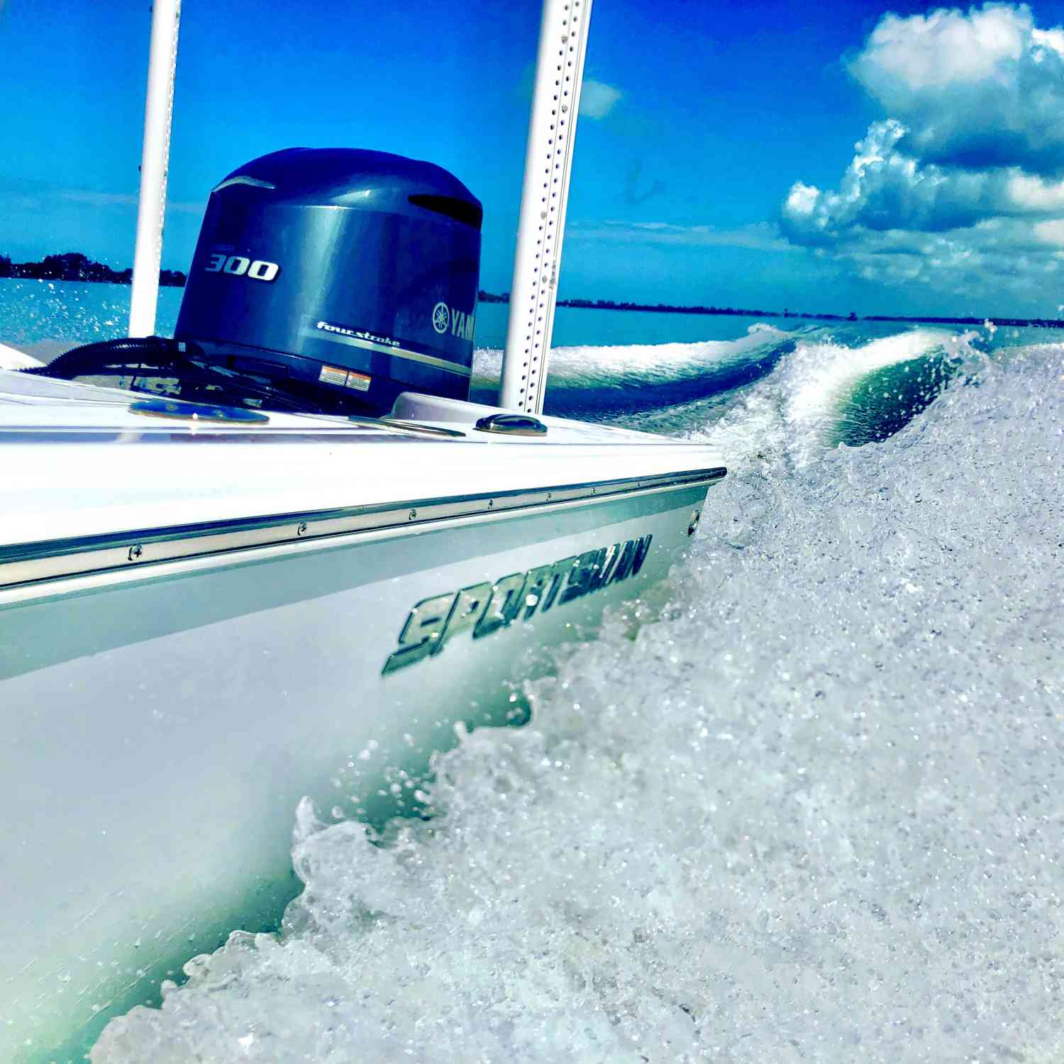 """Running across the Anna Maria sound on the flats in 14"""" of water."""