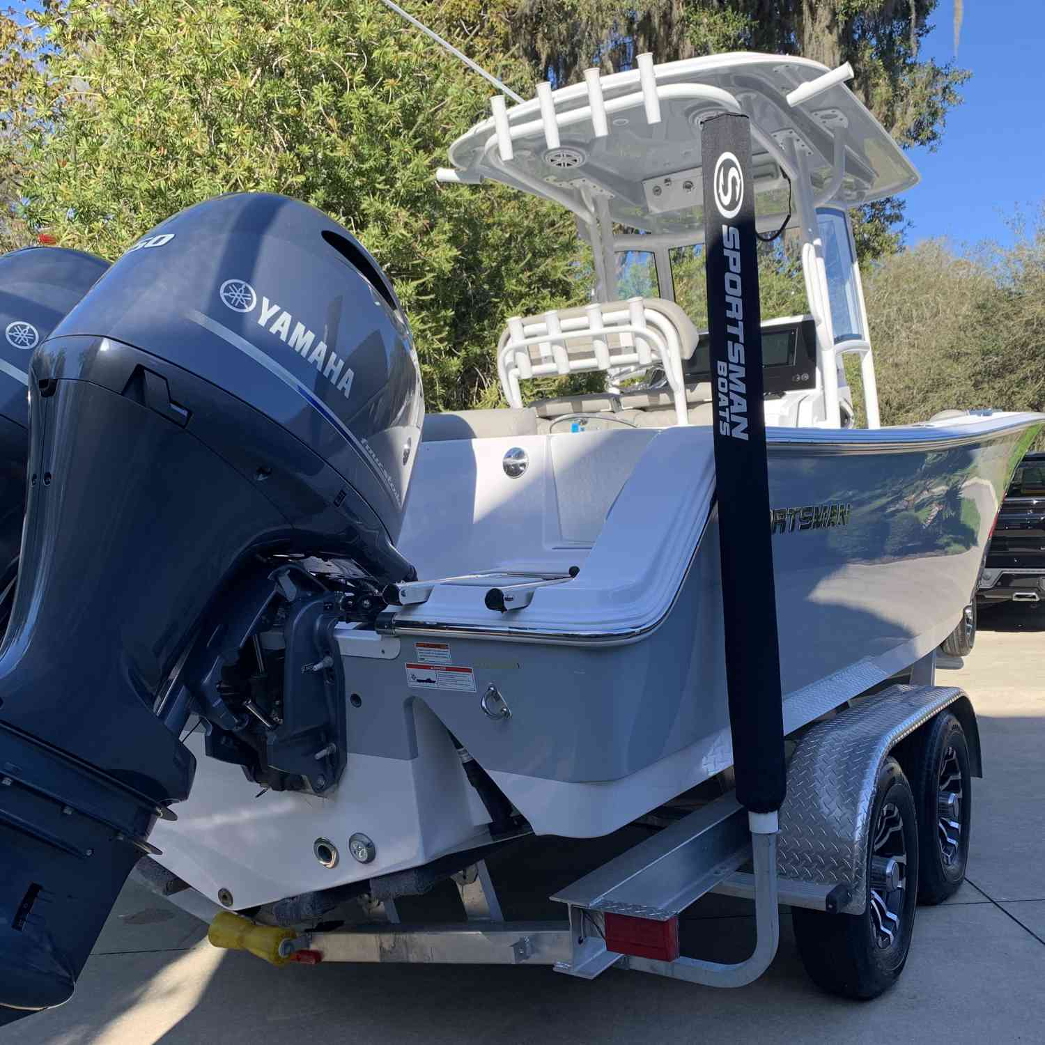 Title: Sitting clean and pretty in the driveway! - On board their Sportsman Open 252 Center Console - Location: Julington creek Florida. Participating in the Photo Contest #SportsmanMarch2021