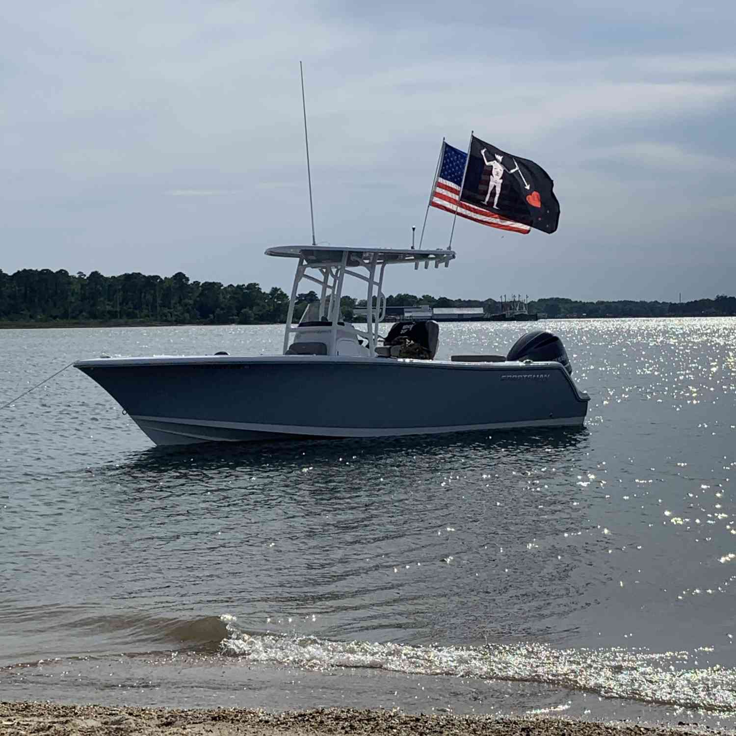 Sunday Funday anchored up in treason cove. Sea's were easily 3-4 feet...but no fear and no sweat in the Sportsman!