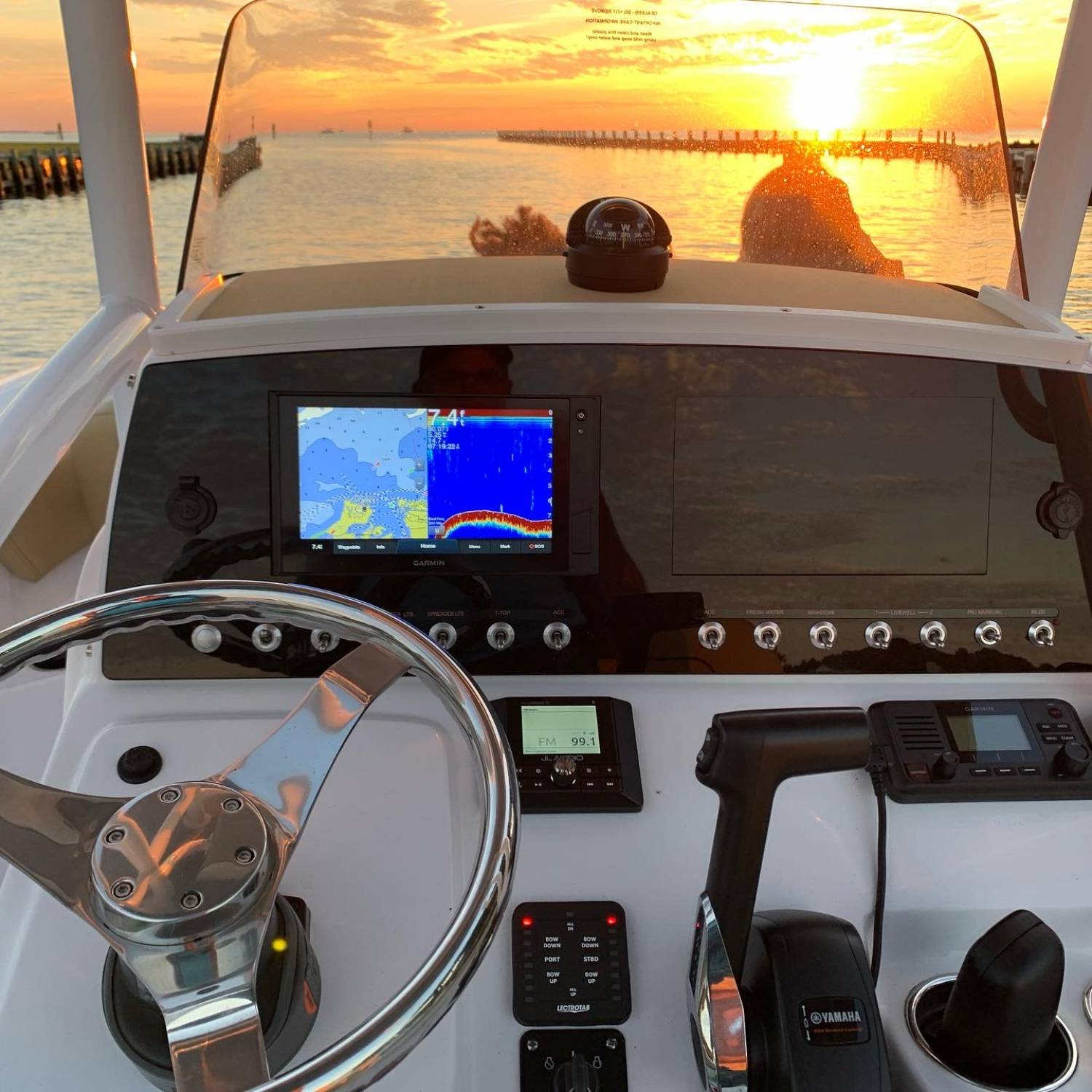 Riding out towards the sunset leaving the Colington Harbour inlet headed out into the Albemarle Sound. Couldn't ask for a...