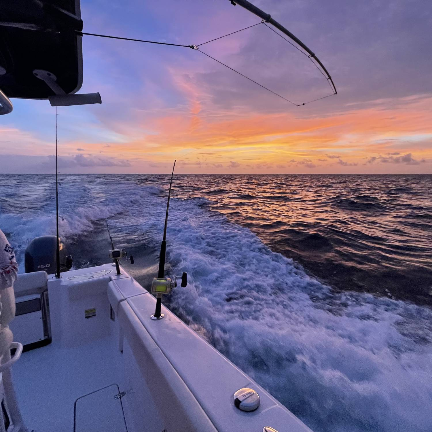 Sunrise over the Gulf of Mexico - lines out, cruising for a bite