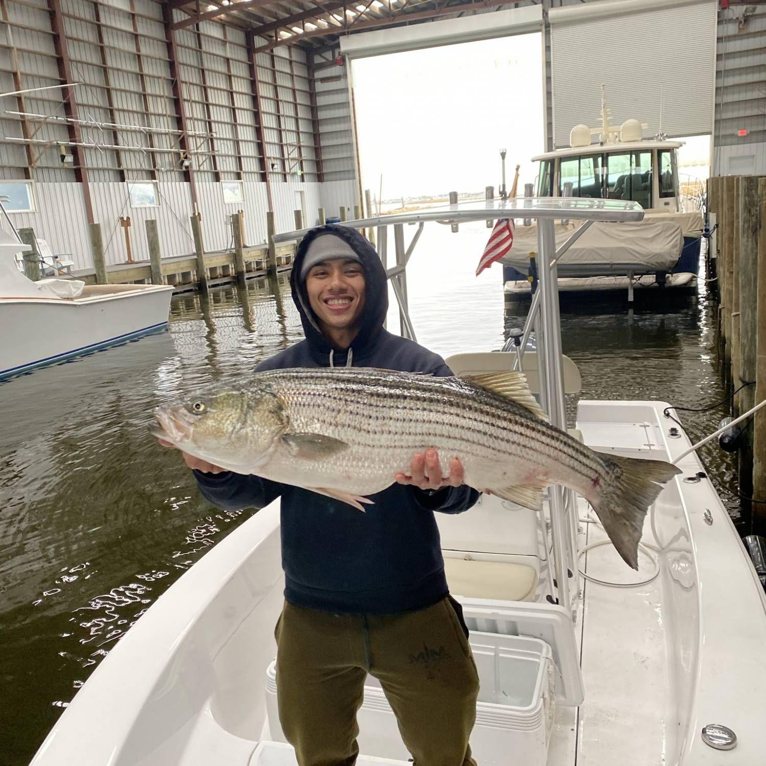This was taken after a long day of striper fishing in mid-November of 2020. We were probably th...