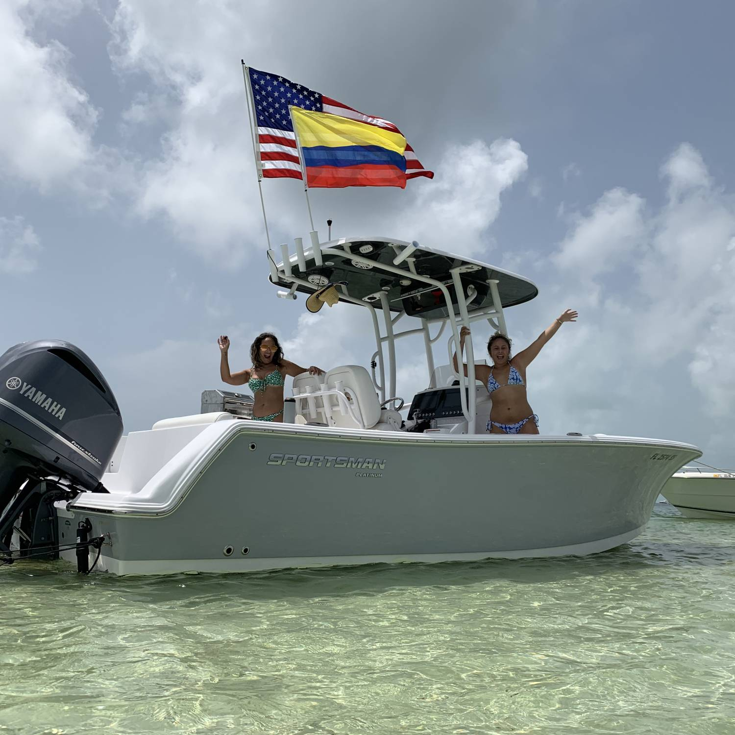 Hanging with the family at the sand bar. We own a 2020 232, it's roomy for the family, tough boat....