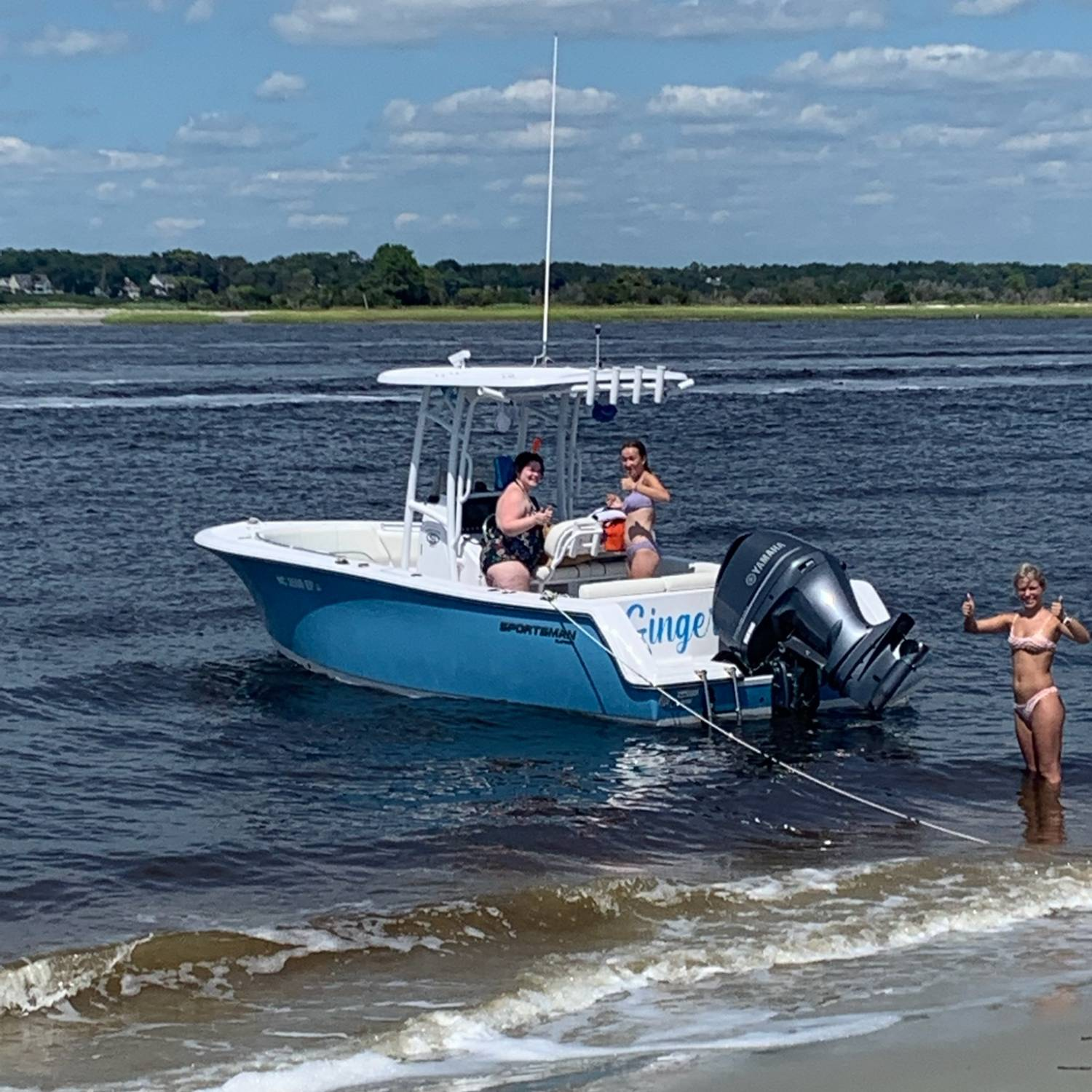Labor Day weekend beached at Bird Island.  Kids had a blast using the Sportsman as a diving boa...