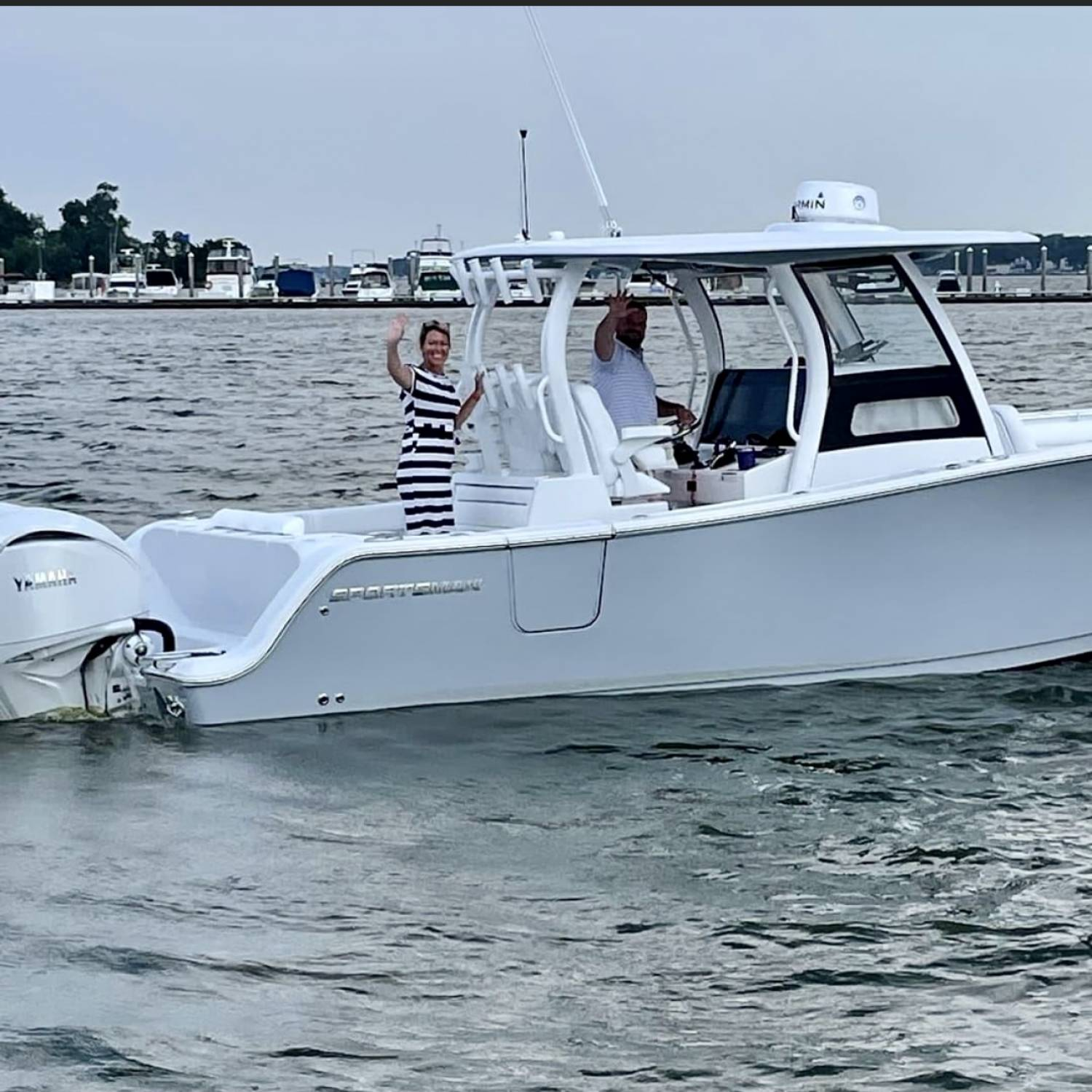 Title: Sign, sealed, delivered, I'm yours!! - On board their Sportsman Open 302 Center Console - Location: Riverside Marina. Participating in the Photo Contest #SportsmanSeptember2021